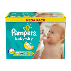 Pampers, Couches baby dry, taille 4 + : 9-20 kg, le carton de 80