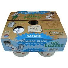 Fromage blanc doux et onctueux DUO LOZERE, 8,2%MG, 4x125g