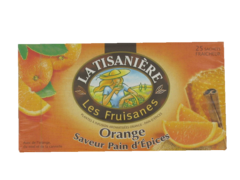 Les Fruisanes - Plantes a infusion aromatisees Orange - Pain d'epices - 25 sachets Avec de l'orange, du miel et de la cannelle.