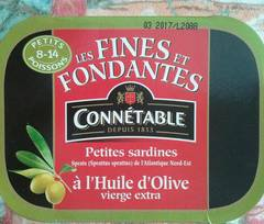 Sardines fines Connetable A l'huile d'olive 2x106g
