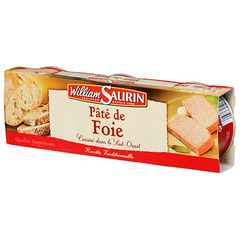 Pate de foie pur porc WILLIAM SAURIN, 3x78g
