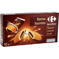 10 Barres fourrees pocket nappees chocolat au lait