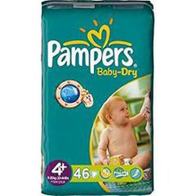 Couches Baby Dry maxi + T4 + (9-20kg) Pampers sac geant x46