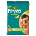 Pampers baby dry midpack change x39 taille 3