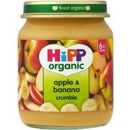 HiPP Organic Stage 1 From 6 Months + Apple and Banana Crumble 6 x 125 g (Pack of 2, Total 12 Pots)