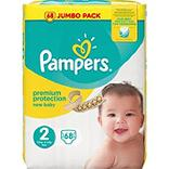 Couches new baby mini T2 jumbo PAMPERS, paquet x68