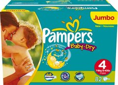 Couches Pampers Baby-Dry, T4 7-18kg 2x41 couches