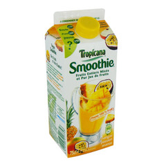 Smoothie tropicana, melange de fruits entiers mixes, mangue passion ananas, la brique, 75cl