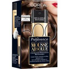 Coloration permanente Mousse Absolue PREFERENCE, chatain eblouissant n°500