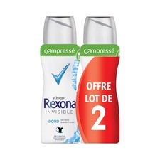 Anti-transpirant spray compresse anti-traces aqua rexona 2x100ml