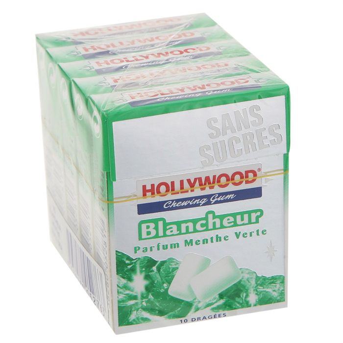 Chewing gums sans sucre Blancheur menthe verte HOLLYWOOD, 5x10 dragees, 73g