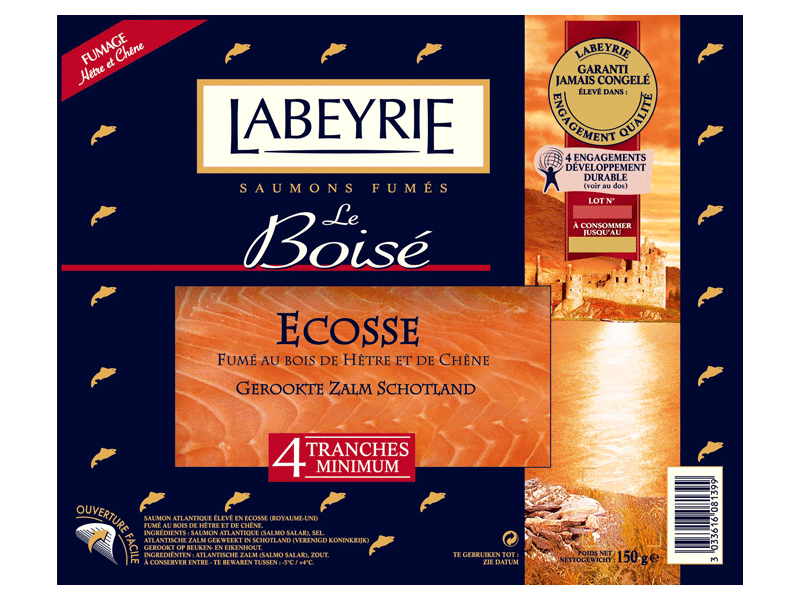 Saumon fume d'Ecosse LABEYRIE, 4 tranches, 150g