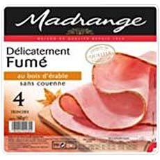 Jambon decouenne delicatement fume au bois d'erable MADRANGE, 4 tranches, 160g