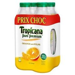 100% Pur jus d'orange Tropicana sans pulpe 4x1l