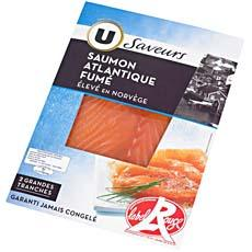 Saumon fume de Norvege Label Rouge U, 2 tranches, 80g