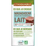 Chocolat lait 53% Madagascar BIO ETHIQUABLE, tablette de 100g