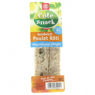 Sandwich Cote Snack Poulet mayo. allegee 145g