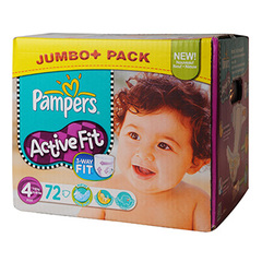 Couches Pampers Active Fit Jumbo box T4 x72