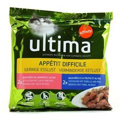 Aliment pour chat a l'appetit difficile Bouchees ULTIMA, 4x100g