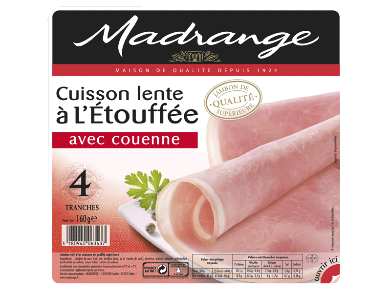 Jambon cuit etouffee Madrange Avec couenne x4 tranches 160g