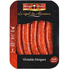 Veritables merguez de boeuf METZGER MULLER, 6 pieces 300g