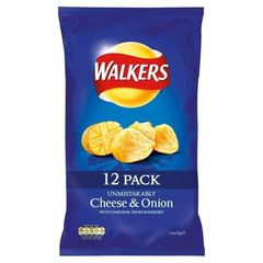 Walkers Crisps - Cheese & Onion (12x25g)