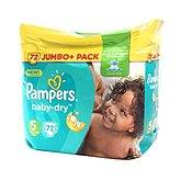Couches baby dry jumbo + taille 5 PAMPERS, 72 unités