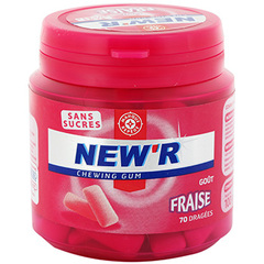 Chewing gum sans sucre New'r Fraise dragees 102g