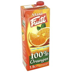 Fruite, Maxi, jus d'orange 100% Oranges, la brique de 1,5l
