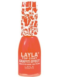 Layla Cosmetics Milano Vernis à Ongles Top Coat Graffiti Crack Effet Orange Feeling 10 ml