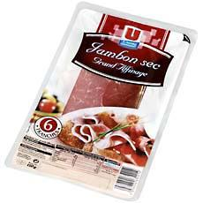 Jambon sec grand affinage U, 6 tranches, 150g