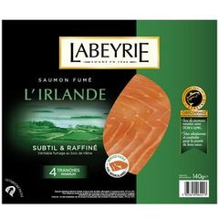 Saumon fume d'Irlande LABEYRIE, 4 tranches, 140g