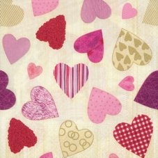 20 Serviettes en papier Design Edition PAPSTAR, Colourful Hearts