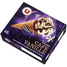 Cones glaces vanille cafe U, 6 unites, 660ml