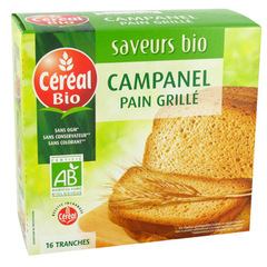 Pain grille Cereal bio Campanel 16 tranches 250g