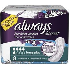 Serviettes pour incontinence long plus ALWAYS, paquet de 8 unités