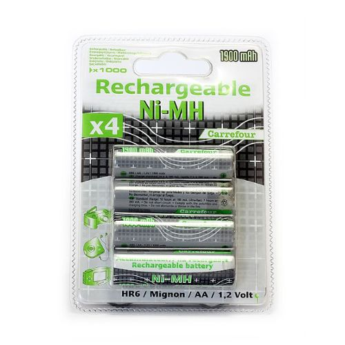 Piles rechargeables HR6/AA - 1600 mAh - 1,2 V Carrefour