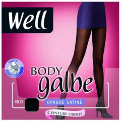 Collant opaque satine 45 deniers Body Galbe WELL, taille 4, noir