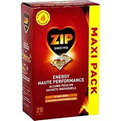 Allume-feux energy haute performance ZIP maxi pack, paquet individuelde 28 cubes