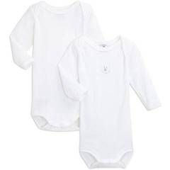 2 Body manches longues Gamme Blanche PETIT BATEAU, taille 6 mois, blanc