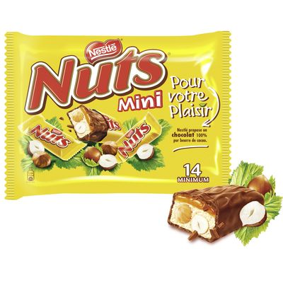 Nuts Mini, barres chocolatees fourrage caramel et noisettes, le paquet de 14 minimum - 332g