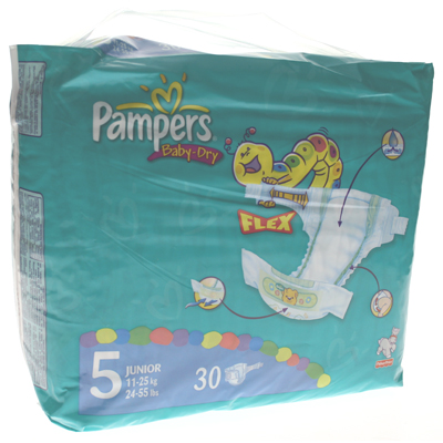 Couches Baby Dry extra junior PAMPERS, taille 5, 11 a 25kg, 30 unites
