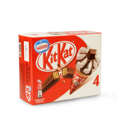 Cones glaces vanille chocolat KIT KAT, 4 unites, 400ml