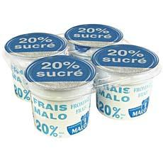 Fromage frais sucre MALO, 20%MG, 4x100g