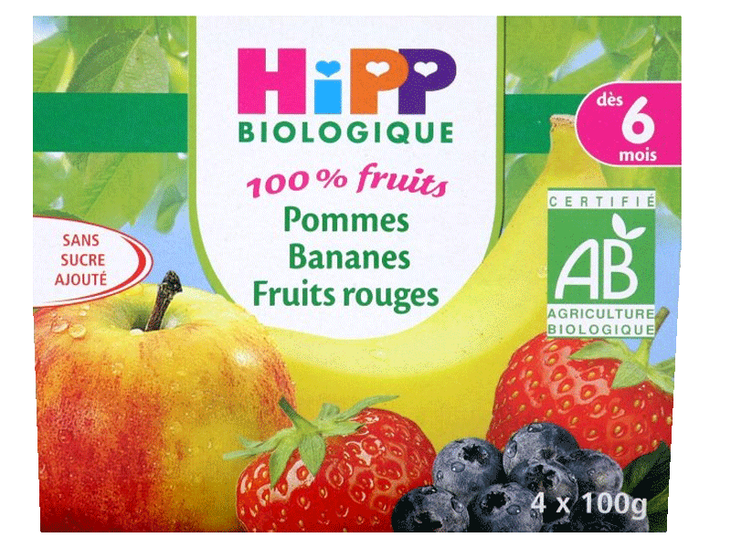 Hipp bio 100% fruits pommes bananes fruits rouges 4x100g 6m