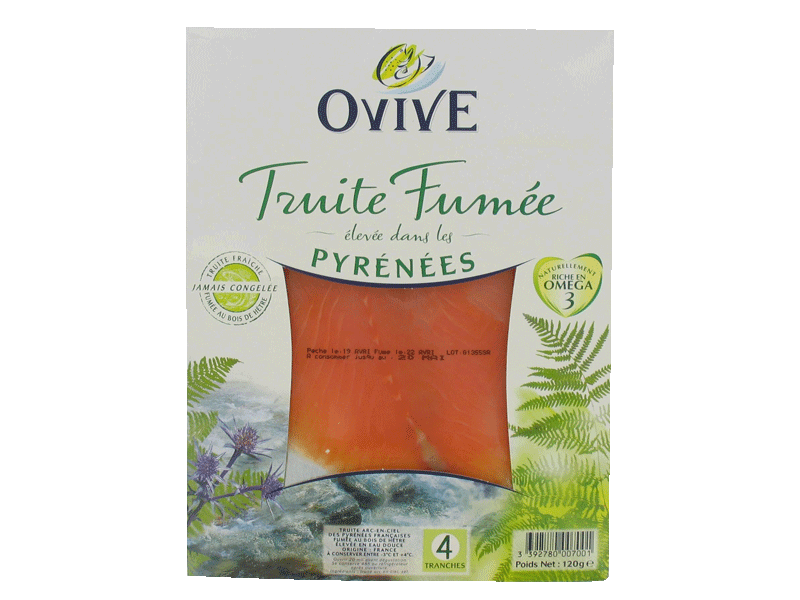 Truite fumee des Pyrenees 4 tranches 120g