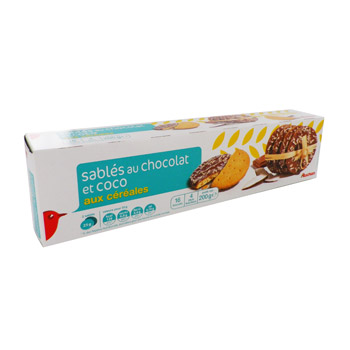Auchan sables cereales chocolat coco x16 - 200g
