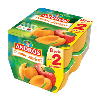 dessert pommes abricots x8 andros 800g