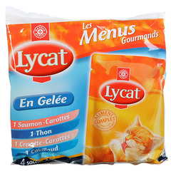 Patee en gelee chats Lycat Poissons 4x100g