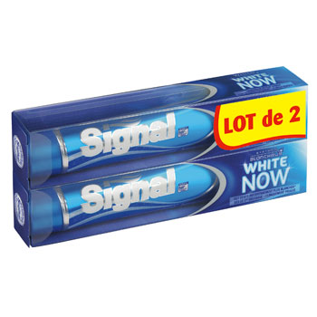 Signal dentifrice white now syst?me blancheur 2x75ml